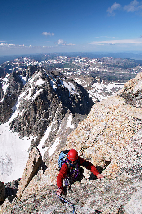 Climber at top of friction pitch on Exum (South) Ridge on the Grand Teton, Grand Teton National Park, Teton County, Wyoming, USA