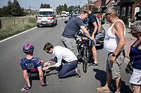 Jesper Rasch (NED/SEG RACING ACADEMY) was involved in a crash. <br /> <br /> <br /> 94th Schaal Sels 2019<br /> One Day Race: Merksem  >  Merksem  (UCI 1.1)<br /> ©kramon
