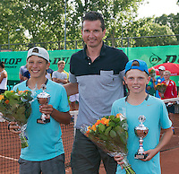 August 9, 2014, Netherlands, Rotterdam, TV Victoria, Tennis, National Junior Championships, NJK,  Prize giving, Richard Krajicek with Jesper de Jong (R) and Yannick Verwater runners up boys doubles 14 years<br /> Photo: Tennisimages/Henk Koster
