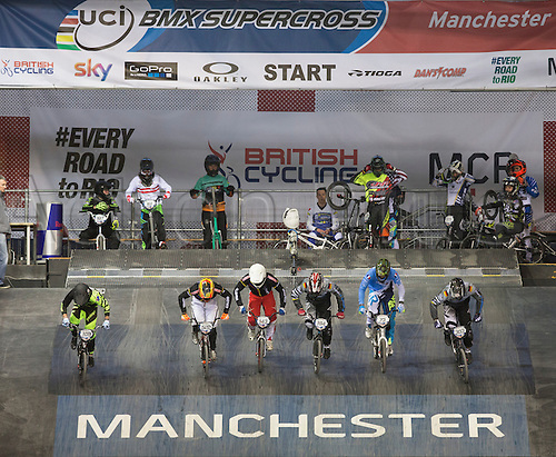 18.04.2015.  Manchester, England. UCI BMX Supercross World Cup.  Day One. Competitors practicing their starts during the Elite MEN Practice session.