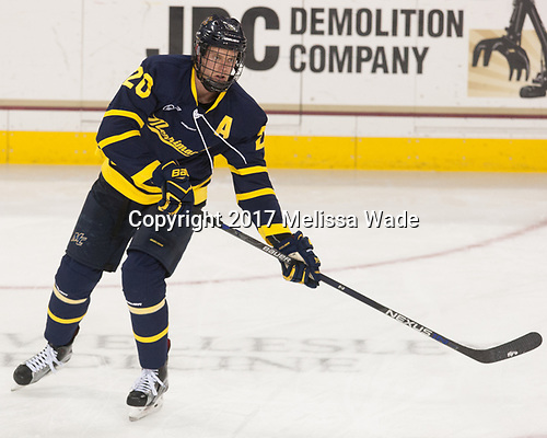Hampus Gustafsson (Merrimack - 20) - The visiting Merrimack College Warriors defeated the Boston College Eagles 6 - 3 (EN) on Friday, February 10, 2017, at Kelley Rink in Conte Forum in Chestnut Hill, Massachusetts.