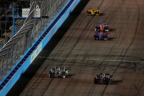 Josef Newgarden, Team Penske Chevrolet passes Robert Wickens, Schmidt Peterson Motorsports Honda for the lead