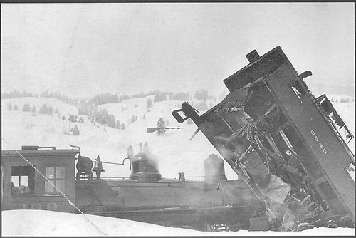 Engine #169 lifed caboose #0540 in wreck.<br /> D&amp;RG  Los Pinos, CO  12/1922