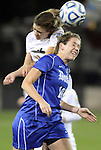 02 December 2011: Duke's Nicole Lipp (10) and Wake Forest's Ally Berry (8). The Duke University Blue Devils defeated the Wake Forest University Demon Deacons 4-1 at KSU Soccer Stadium in Kennesaw, Georgia in an NCAA Division I Women's Soccer College Cup semifinal game.