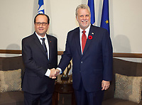 French President Francois Hollande and Quebec Premier Philippe Couillard shake hands at the Premier's office in Quebec City, Monday November 3, 2014. Hollande is on day two of a three day trip to Canada.<br /> <br /> PHOTO :  Francis Vachon - Agence Quebec Presse