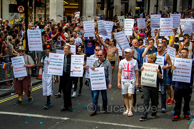 Peter Tatchell (Social justice campaigner). <br /> <br /> London, 27/06/2015. Tens of Thousands of people took part in the annual &quot;Pride in London&quot; Parade. The LGBT (the lesbian, gay, bisexual, and transgender community) parade, composed of over 258 groups, marched from Baker Street, along Oxford Street to Oxford Circus, carried on down Regent Street and along Pall Mall, ended in Trafalgar Square.<br /> <br /> For more information please click here: http://prideinlondon.org/
