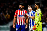 Diego Costa of Atletico de Madrid (L) fights for position with Igor Zubeldia of Real Sociedad (R) during the La Liga 2018-19 match between Atletico de Madrid and Real Sociedad at Wanda Metropolitano on October 27 2018 in Madrid, Spain.  Photo by Diego Souto / Power Sport Images