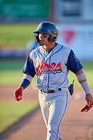 Bryan Torres (1) of the Rocky Mountain Vibes during the game against the Ogden Raptors at Lindquist Field on July 19, 2019 in Ogden, Utah. The Raptors defeated the Vibes 9-5. (Stephen Smith/Four Seam Images)