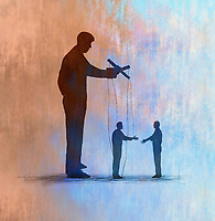 Puppeteer controlling businessmen shaking hands
