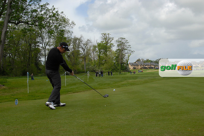 Paul McGinley tees off on the 7th tee during the third round of the Irish Open on 19th of May 2007 at the Adare Manor Hotel & Golf Resort, Co. Limerick, Ireland. (Photo by Eoin Clarke/NEWSFILE)..