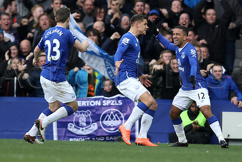 05.03.2016. Goodison Park, Liverpool, England. Barclays Premier League. Everton versus West Ham.Aaron Lennon of Everton celebrates his goal.