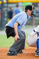 Home plate umpire Alex Ziegler during the Appalachian League game between the Bristol White Sox and the Burlington Royals at Burlington Athletic Park on July 10, 2011 in Burlington, North Carolina.  The White Sox defeated the Royals 4-3.   (Brian Westerholt / Four Seam Images)