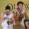 Anthony Reilly #15, right, and Kevin Duke #4 of Oyster Bay react as the Baymen close in on a 51-31 win over Carle Place in the Nassau County varsity boys basketball Class B final at SUNY Old Westbury on Thursday, Feb. 23, 2017.