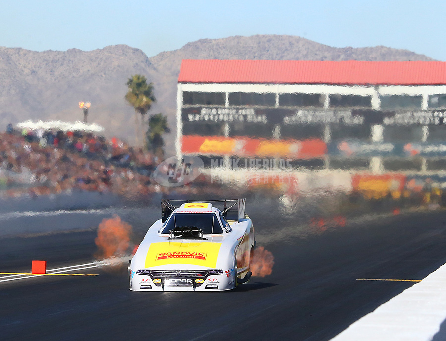 Feb 25, 2018; Chandler, AZ, USA; NHRA funny car driver Matt Hagan during the Arizona Nationals at Wild Horse Pass Motorsports Park. Mandatory Credit: Mark J. Rebilas-USA TODAY Sports