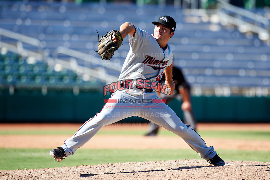 Peoria Javelinas pitcher Caleb Thielbar #52, of the Minnesota Twins organization, during an Arizona Fall League game against the Mesa Solar Sox at HoHoKam Park on October 15, 2012 in Mesa, Arizona.  Peoria defeated Mesa 9-2.  (Mike Janes/Four Seam Images)