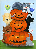 Kate, CUTE ANIMALS, LUSTIGE TIERE, ANIMALITOS DIVERTIDOS, halloween, paintings+++++Cat & Dogs Halloween trio,GBKM454,#ac#, EVERYDAY