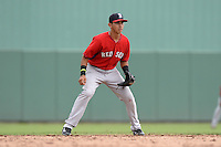 Boston Red Sox shortstop Javier Guerra (19) during an Instructional League game against the Minnesota Twins on September 26, 2014 at jetBlue Park at Fenway South in Fort Myers, Florida.  (Mike Janes/Four Seam Images)