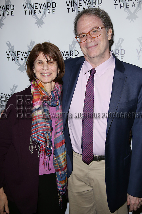 Margo Lion and Douglas Aibel during the Off-Broadway Opening Night of 'Dot'  at the Vineyard Theatre on February 21, 2016 in New York City.
