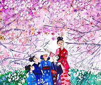 Teacher showing children Japanese cherry blossom ExclusiveImage