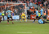 09/03/2019 Sky Bet League 1 Blackpool v Southend United<br /> <br /> Distraught Tyler Moore heads  into the far corner of the goal for the Blackpool added time equaliser
