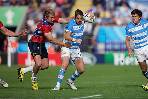 11.10.2015. King Power Stadium, Leicester, England. Rugby World Cup. Argentina versus Namibia. Argentina wing Horacio Agulla with the ball.