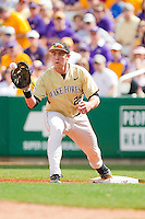 First baseman Matt Conway #25 of the Wake Forest Demon Deacons stretches for a throw against the LSU Tigers at Alex Box Stadium on February 20, 2011 in Baton Rouge, Louisiana.  The Tigers defeated the Demon Deacons 9-1.  Photo by Brian Westerholt / Four Seam Images