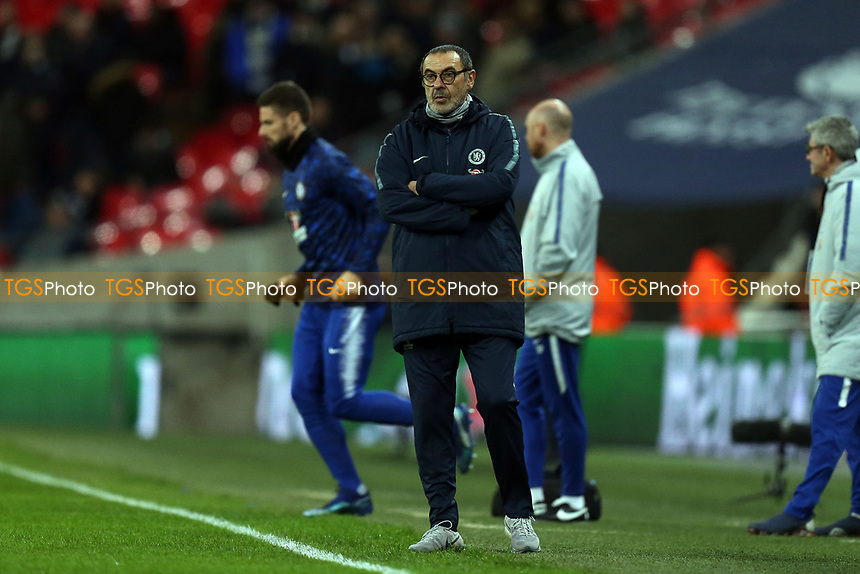 Chelsea manager Maurizio Sarri before Tottenham Hotspur vs Chelsea, Caraboa Cup Football at Wembley Stadium on 8th January 2019