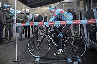 Laura Verdonschot (BEL/Marlux Bingoal) pre race warming up.<br /> <br /> Women's Race<br /> Belgian National Cyclocross Championships 2018 / Koksijde