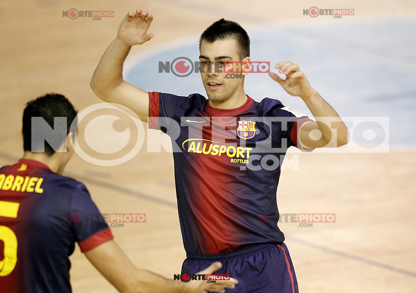 FC Barcelona Alusport's Gabriel Da Silva (l) and Sergio Lozano celebrate goal during Spanish National Futsal League match.November 24,2012. (ALTERPHOTOS/Acero) /NortePhoto