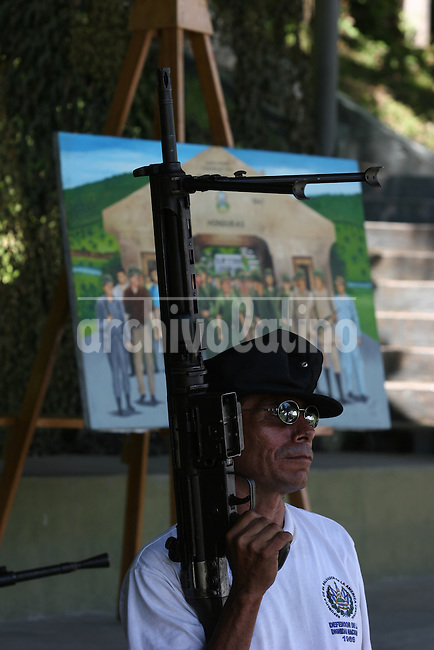 Veterans of Soccer War between el Salvador and Honduras in 1964, pose for a picture during a commemoration ceremony in El Salvador Zapote Presidential Palace