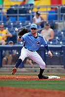 Charlotte Stone Crabs first baseman Dalton Kelly (7) waits to receive a throw during a game against the Lakeland Flying Tigers on April 16, 2017 at Charlotte Sports Park in Port Charlotte, Florida.  Lakeland defeated Charlotte 4-2.  (Mike Janes/Four Seam Images)