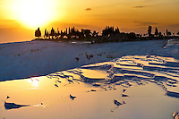 Photo & Image  of Pamukkale Travetine Terrace, Turkey, at sunset. Images of the white Calcium carbonate rock formations. Buy as stock photos or as photo art prints. 5 Pamukkale travetine terrace water cascades, composed of white Calcium carbonate rock formations, Pamukkale, Anatolia, Turkey