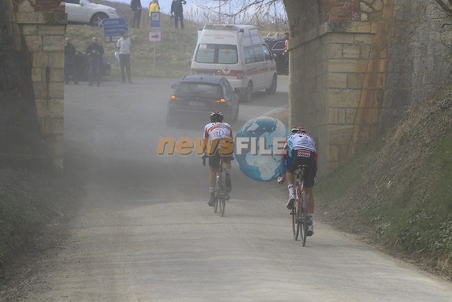 Tail end of the peloton on sector 5 Lucignano d'Asso during Strade Bianche 2019 running 184km from Siena to Siena, held over the white gravel roads of Tuscany, Italy. 9th March 2019.<br /> Picture: Eoin Clarke | Cyclefile<br /> <br /> <br /> All photos usage must carry mandatory copyright credit (© Cyclefile | Eoin Clarke)