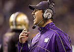 Washington Huskies Head Coach Steve Sarkisian sends  in a play against the Oregon State Beavers at CenturyLink Field in Seattle, Washington on October 27, 2012.  The Huskies upset the 7th ranked Beavers 20-17.   ©2012. Jim Bryant Photo. ALL RIGHTS RESERVED.