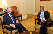 United States Senate Majority Leader Mitch McConnell (Republican of Kentucky), left, meets retired neurosurgeon Dr. Ben Carson, US President-elect Donald J. Trump's selection to be US Secretary of Housing and Urban Development (HUD), in his office in the US Capitol in Washington, DC on Wednesday, December 7, 2016.<br /> Credit: Ron Sachs / CNP