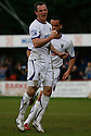 Luke Moore of Wimbledon celebrates scoring their scores their second goal during the Blue Square Bet Premier match between Histon and AFC Wimbledon at the Glass World Stadium, Histon on 16th April, 2011.© Kevin Coleman 2011.