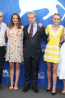 VENICE, ITALY - SEPTEMBER 08: Actress Natalie Portman, actor Emmanuel Salinger, actress Lily Rose Depp attend a photocall for 'Planetarium' during the 73rd Venice Film Festival at Palazzo del Casino on September 8, 2016 in Venice, Italy.<br /> CAP/GOL<br /> &copy;GOL/Capital Pictures /MediaPunch ***NORTH AND SOUTH AMERICAS ONLY***