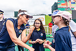 CROMWELL, CT. 19 June 2019-061919 - Actress Bridget Moynihan from the show Blue Bloods, left, gives a pep talk to Emma Thistlewaite of New Hartford, as her sister Paige, center looks on during the Travelers Championship's Dunkin Celebrity Mini Golf Tournament at the TPC River Highlands in Cromwell on Wednesday. Bill Shettle Republican-American