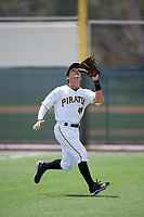 GCL Pirates right fielder Jack Herman (49) tracks a fly ball during a game against the GCL Tigers West on August 13, 2018 at Pirate City Complex in Bradenton, Florida.  GCL Tigers West defeated GCL Pirates 5-1.  (Mike Janes/Four Seam Images)