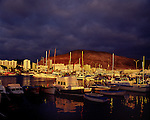 Dramatic clouds at sunset over Los Cristianos harbour,Tenerife. Canary Islands, Spain,Tenerife. Canary Islands, Spain