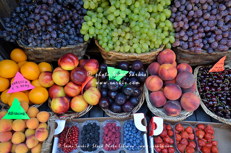 Summer variety of fruits in Italy