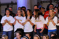 Audience members listen to speakers during the signing ceremony for the WPS Philadelphia Independence at the Franklin Institute in Philadelphia, PA, on May 18, 2009.