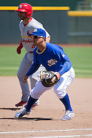 Cheslor Cuthbert (24) of the Omaha Storm Chasers on defense against the Memphis Redbirds in Pacific Coast League action at Werner Park on April 22, 2015 in Papillion, Nebraska.  (Stephen Smith/Four Seam Images)