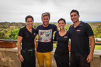 Margaret River, Western Australia (Tuesday, March 19, 2013) Professional surfer Adrian 'Ace' Buchan (AUS) with the resturant staff at Wise Winery, Eagle Bay, Dunsborough during the lay day. - Day Four of the Drug Aware Margaret River Pro was called off.today because small surf at the main break at Margaret River. .The surf was too small for the contest to run and a lay day was called. Conditions will reassessed tomorrow morning at 6.30am...Stop No. 2 of 8 on the ASP Women's World Championship Tour, will see the 2013 Drug Aware Margaret River Pro play a vital role in deciding this year's ASP Women's World Champion. The men's Division carries an ASP PRIME rating and is the first event of that calibre this year and the field of 96 of the world's best surfers are keen to set themselves up as front runners for 2014 ASP WCT qualification....Photo: joliphotos.com