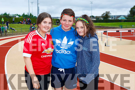 Enjoying the Kerry ETB students Athletics Day at An Riocht Castleisland on Tuesday were Abigail O'Dwyer, Eoin O'Grady and Ella Courtney from <br /> Col&aacute;iste na Sceilge