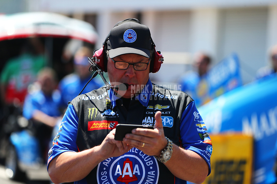 Mar 19, 2017; Gainesville , FL, USA; Jimmy Prock, crew chief for NHRA funny car driver Robert Hight during the Gatornationals at Gainesville Raceway. Mandatory Credit: Mark J. Rebilas-USA TODAY Sports
