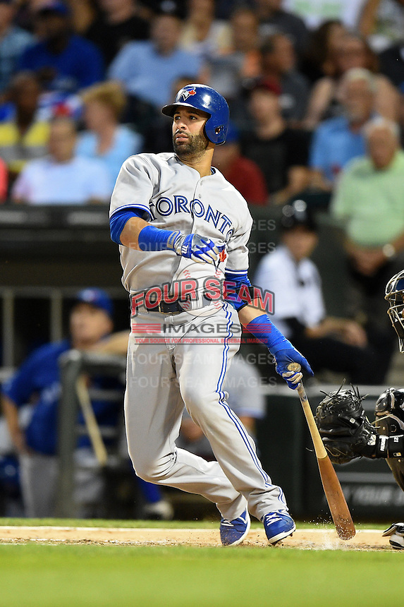 Toronto Blue Jays outfielder Jose Bautista (19) at bat during a game against the Chicago White Sox on August 15, 2014 at U.S. Cellular Field in Chicago, Illinois.  Chicago defeated Toronto 11-5.  (Mike Janes/Four Seam Images)