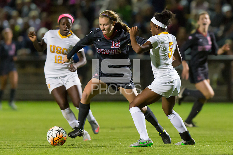 Stanford, CA - October 29, 2015: Kyra Carusa during Stanford women\'s soccer against USC at Maloney Field. Stanford defeated USC 1-0.