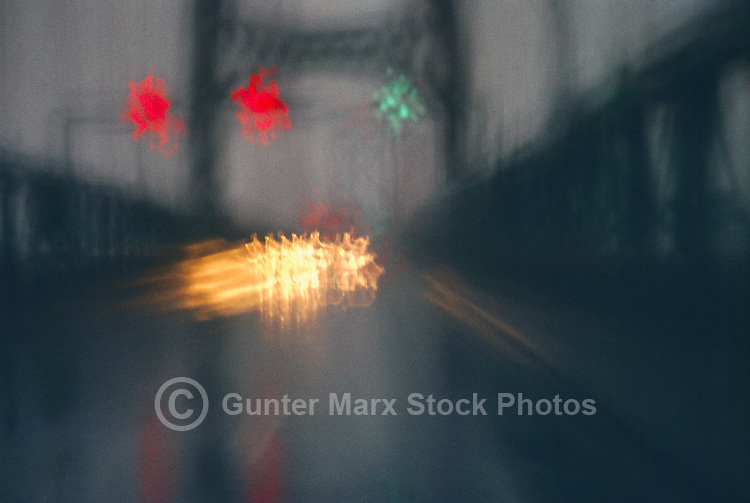 Blurred Night Traffic on Bridge - Creative Concept