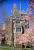 The exterior of a building on the campus of Princeton University in spring. New Jersey.
